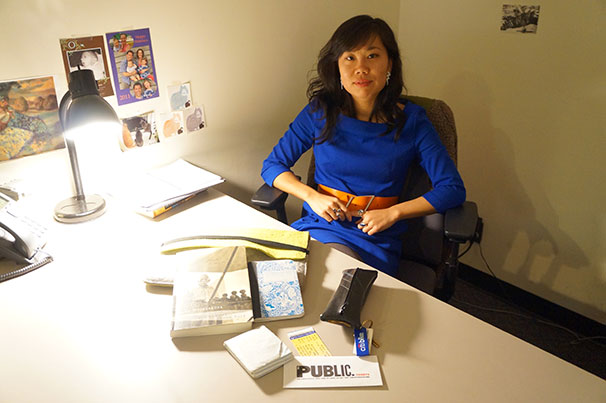CAS professor Dora Zhang, who teaches a Writing the Essay class, displays the contents of her bag