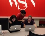 Amy helping university editor Veronica Carchedi and city/state deputy editor Emily Bell.
