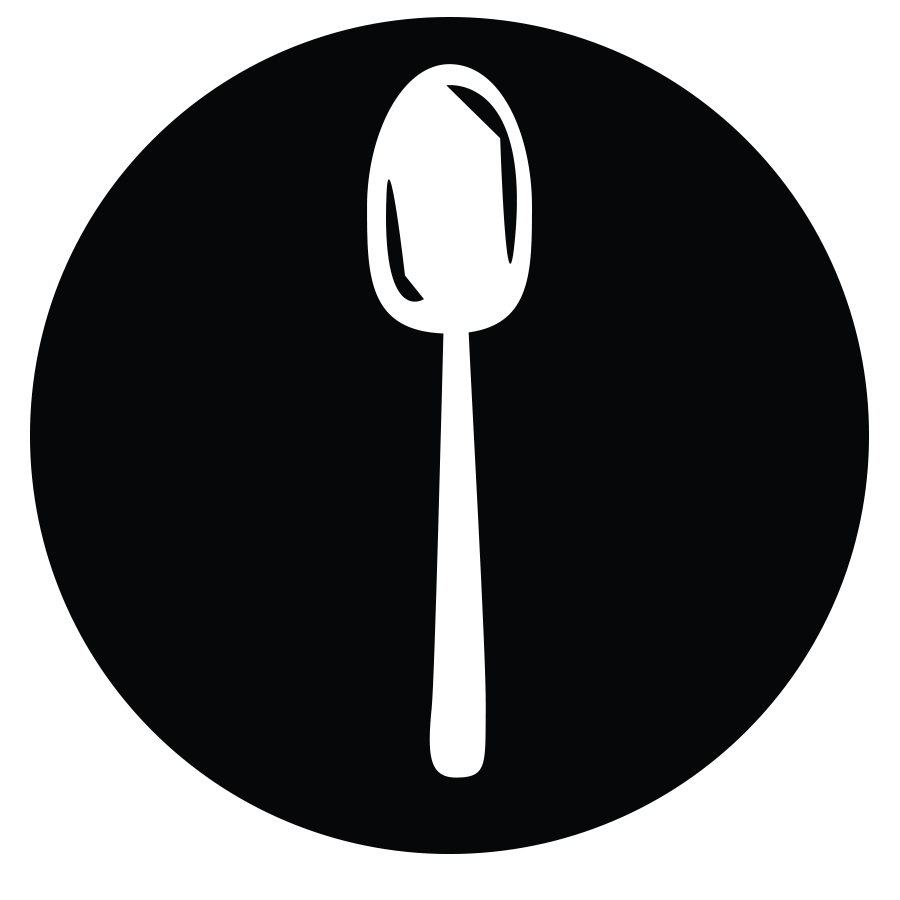a black circle and a white spoon